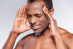 Awful headache. Royalty Free Stock Photo