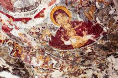 Awful Repainted Fresco - Sumela Monastery. At Sumela stock images
