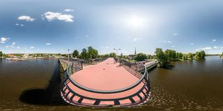 AWGUSTOW, POLAND - MAY, 2018: full seamless panorama 360 by 180 angle view from the observation deck to the river port in stock photography
