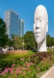 The Awilda biggest Head sculpture of Spanish sculptor Jaume Plensa at the Millennium Park in Chicago. Chicago, Illinois, USA - August 15, 2014: The Awilda stock photo