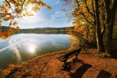 Ławka jeziorem Obrazy Stock