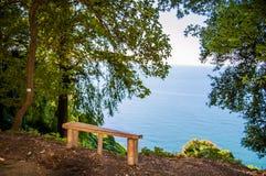Ławka morzem Zdjęcia Royalty Free