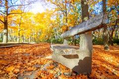 Ławka w jesieni Fotografia Royalty Free