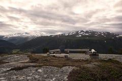 Ławka w Norweskim parku narodowym Zdjęcia Stock