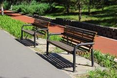 Ławka w Olimpijskiej zieleni Zdjęcia Stock