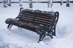 Ławka w zima parku Obraz Stock