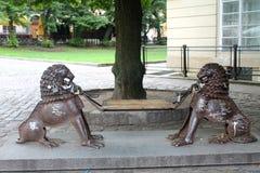 Ławka z lwami w Lviv Fotografia Royalty Free