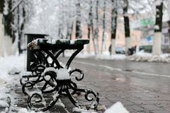 Ławki zimy chodniczek Zdjęcie Stock