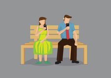 Awkward Boring First Date Vector Cartoon Illustration Stock Image