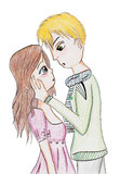 The awkward moment before the first kiss. Of teenagers - hand drawing, isolated Royalty Free Stock Photo