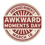 Awkward Moments Day stamp. Awkward Moments Day, March 18, rubber stamp, vector Illustration Royalty Free Stock Images