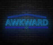 Awkward neon concept. Royalty Free Stock Image