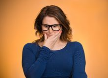 Awkward Situation. Portrait Of Embarrassed Woman Royalty Free Stock Photo