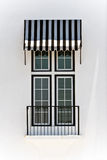 awning μαύρα άσπρα Windows Στοκ Φωτογραφία
