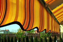 Awning. Detail of an awning structure shading a terrace royalty free stock images