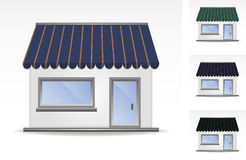 Awning. Illustration of four different color awnings Royalty Free Stock Photos