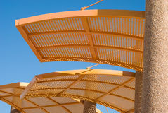 Awning. Solar canopy on coast of the mediterranean sea stock photos