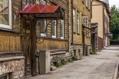 Awning Architecture in the Downtown of Tallinn. Awninged entrance of an historical house in downtown of Tallinn, Estonia Royalty Free Stock Image