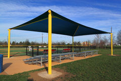 Awning. For baseball sports events over seating stock image