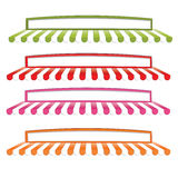 Awning 1. Collection of colorful shop awnings in four different colors , red, green, blue and pink, isolated on white background. Eps file available royalty free illustration