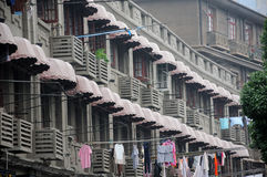 Awning covered balconies Stock Photos