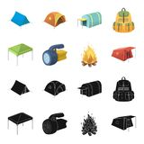 Awning, fire and other tourist equipment.Tent set collection icons in black,cartoon style vector symbol stock. Illustration Stock Photo