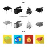 Awning, fire and other tourist equipment.Tent set collection icons in black, flat, monochrome style vector symbol stock. Illustration Royalty Free Stock Photography