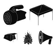 Awning, fire and other tourist equipment.Tent set collection icons in black style vector symbol stock illustration web. Awning, fire and other tourist equipment Royalty Free Stock Photo