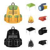 Awning, fire and other tourist equipment.Tent set collection icons in cartoon,black style vector symbol stock. Illustration Royalty Free Stock Image