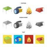 Awning, fire and other tourist equipment.Tent set collection icons in cartoon,flat,monochrome style vector symbol stock. Illustration Stock Photography