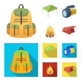 Awning, fire and other tourist equipment.Tent set collection icons in cartoon,flat style vector symbol stock. Illustration Stock Photos
