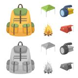 Awning, fire and other tourist equipment.Tent set collection icons in cartoon,monochrome style vector symbol stock. Illustration Royalty Free Stock Image