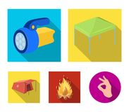 Awning, fire and other tourist equipment.Tent set collection icons in flat style vector symbol stock illustration web. Awning, fire and other tourist equipment Royalty Free Stock Photo