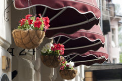 Awning and flowers. Dark red awning and flowers in hanging pots stock photography