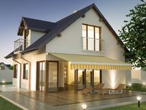 Awning and family house, 3D illustration