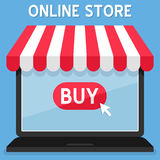 Awning Online Shopping Store on Laptop Stock Photo