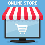 Awning Online Store on Computer Screen Royalty Free Stock Images