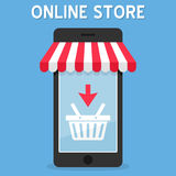 Awning Online Store on Smartphone Royalty Free Stock Photos