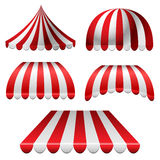 Awning set. With red and white stripes isolated on white vector illustration