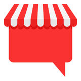 Awning Speech Bubble Flat Icon on White. Red and white shop awning with speech bubble flat icon, isolated on white background. Eps file available Stock Photos