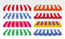 Awning tents vector color stripes isolated set royalty free illustration
