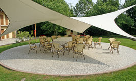 Awning to shade the chairs of the guests during a reception Royalty Free Stock Image