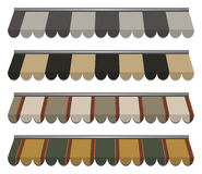 Awnings. Illustration of four different colored awnings stock illustration