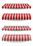 Awnings. Detailed illustration of set of striped awnings Stock Photos