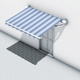 Awnings blue stripe Royalty Free Stock Image
