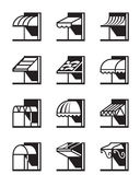 Awnings and canopies of buildings. Vector illustration Royalty Free Stock Photography