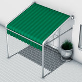 Awnings green stripes. 3d illustration awnings green stripes Stock Image