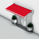 Awnings red stripes. 3d illustration awnings red stripes Stock Images