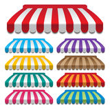 Awnings. Set of colorful awnings. frames and backgrounds vectors Royalty Free Stock Photography