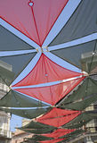 Awnings Street. Awnings for the summer in downtown street in Madrid, Spain Stock Images